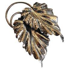 Vintage Danecraft Sterling Silver Double Leaf Brooch Pin
