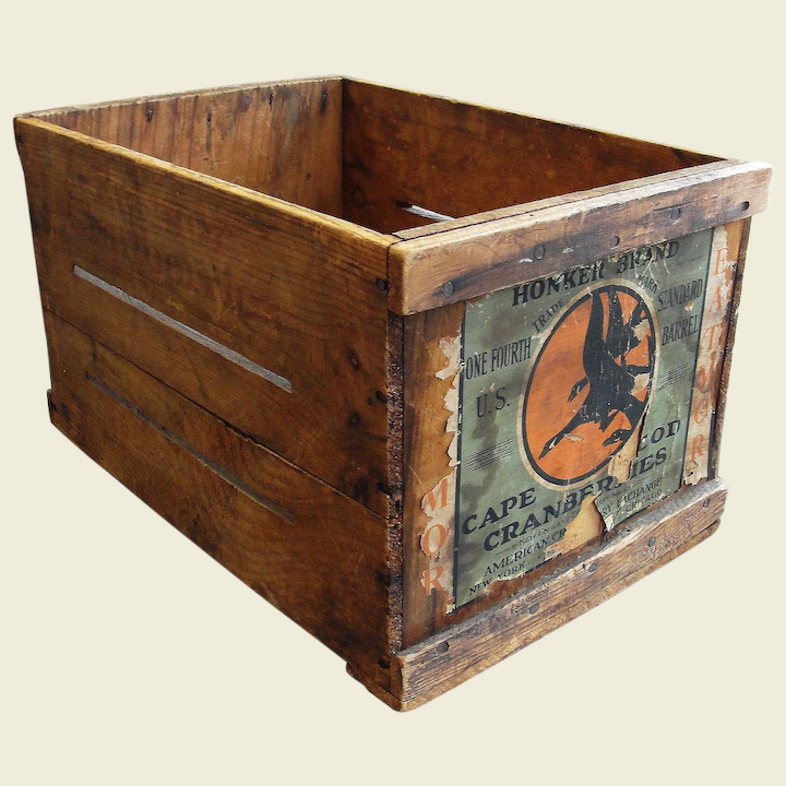 Vintage Wooden Cranberry Box//Crate Pointer Brand Eatmor Cape Cod Cranberries