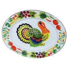 Vintage Graniteware Large Oval Turkey Platter