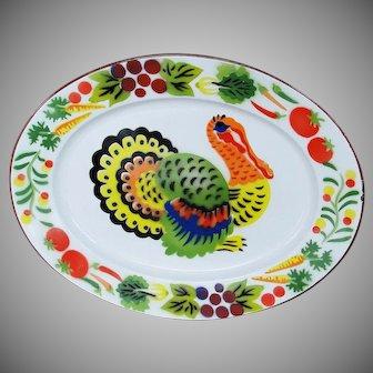 Vintage Graniteware Large Oval Turkey Platter