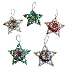 Vintage Beaded Pearl Glass Star Christmas Ornaments