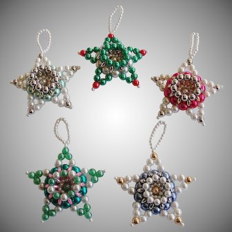 Vintage Beaded Pearl Glass Star Christmas Ornaments