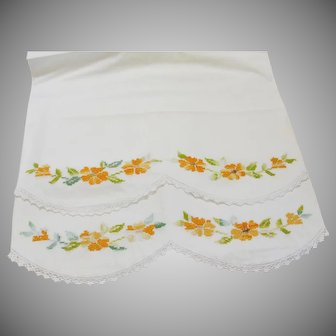 Vintage White Cotton Pillowcases with Embroidered Flowers