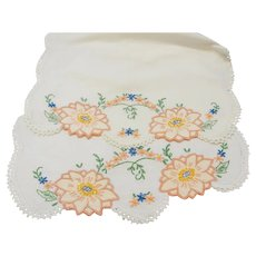 Vintage White Cotton Runner Appliqué and Embroidery