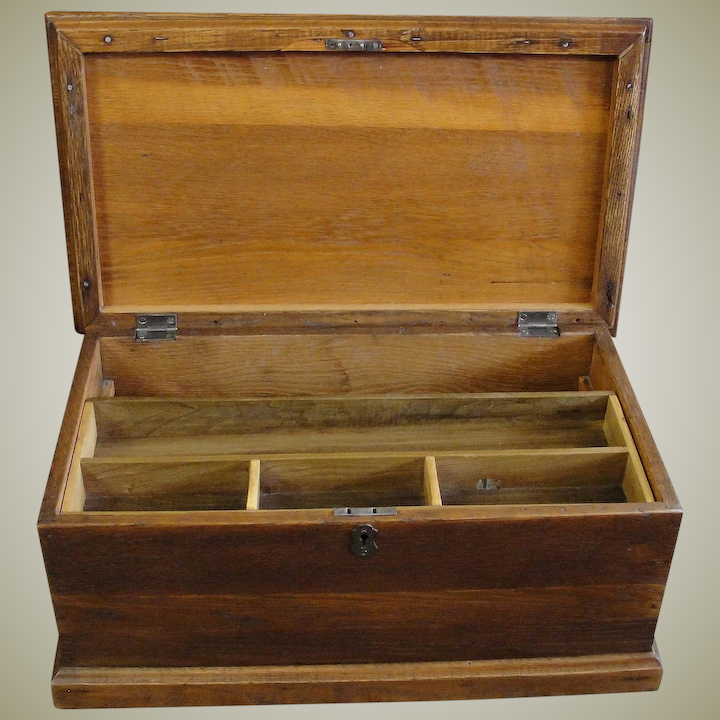 Vintage Wood Tool Box With Tray