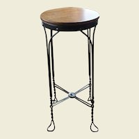 Vintage Twisted Metal Stool with Wood Seat