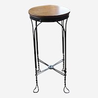 Vintage Twisted Metal Stool with Wood Seat