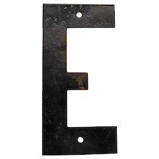 Vintage Metal Sign Letter E