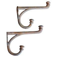 Vintage Cast Iron Two Prong Hooks