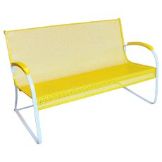 Vintage Mid Century Steel Mesh Porch Settee Bright Yellow
