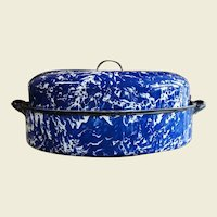 Vintage Cobalt Blue Swirl Graniteware Roaster with Insert