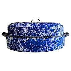 Vintage Cobalt Blue Swirl Graniteware Roaster with Insert