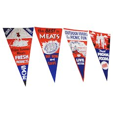 Vintage Grocery Store Advertising Pennants Summer Picnic
