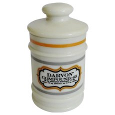 Vintage Custard Glass Darvon Compound 65 Apothecary Canister