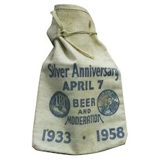 Vintage Silver Anniversary Beer and Moderation Canvas Bank Coin Bag