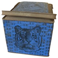 Vintage Blue Tiger Chewing Tobacco Tin