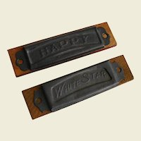 Two Small Vintage Harmonicas Happy and White Star