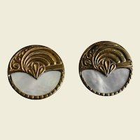 Two Brass and Mother of Pearl Stud Buttons