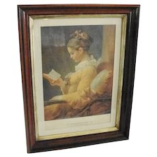 Vintage Walnut and Gilt Frame with Print