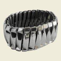 Vintage Silvertone Metal Stretch Bracelet