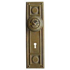 Vintage Fraternal Order of Eagles Brass Door Knob and Back Plate