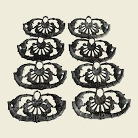 Eight Matching Ornate Floral Design Cast Brass Pulls