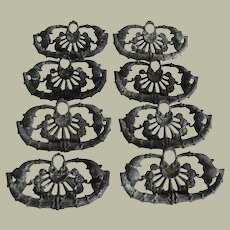 Eight Matching Ornate Floral Design Cast Brass Pulls