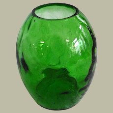Vintage Hand Blown Green Glass Vase with Flat Back