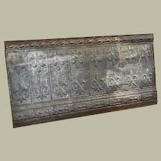 Late 1800's Decorative Tin Ceiling Panel with Fleur De Lis 48 x 24