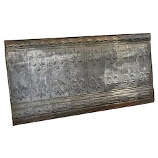 Late 1800's Decorative Tin Ceiling Panel with Fleur De Lis 48 x 24
