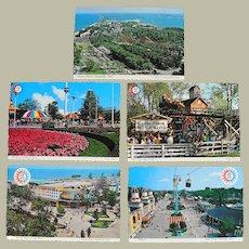 Five 1970 Vintage Cedar Point Amusement Park Postcards