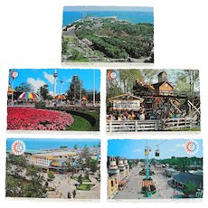 Five 1970 Vintage Cedar Point Amusement Park Postcards