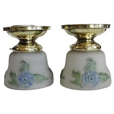 Vintage Brass Light Fixtures with Blue Flower Shades