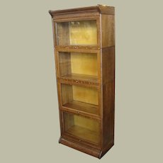 Small Size Gunn Quarter Sawn Oak 4 Section Stacking Barrister Bookcase