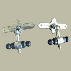 Two Nickel Plated Brass T Bar Handles