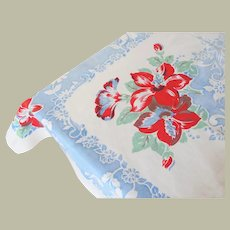 Vintage Printed Floral Tablecloth Blue Red on White