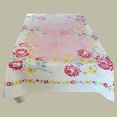 Vintage Rectangular Floral Design Tablecloth