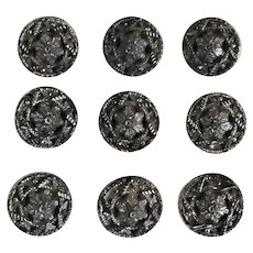 Victorian Black Glass Silvered Buttons Set of Nine