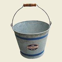 Vintage Galvanized Pail Bucket Original Atlantic Label