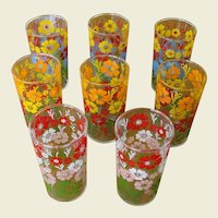 Eight Vintage Glasses with Colorful Floral Design