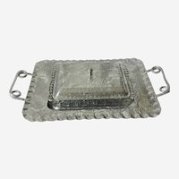 Vintage Aluminum Serving Tray with Glass Insert and Lid