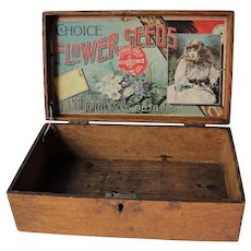 Antique Ferry Morse Choice Flower Seeds Wooden Box