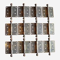 Eastlake Victorian Cast Iron Door Hinges 3 1/2 by 3 1/2 Inches