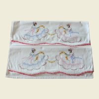 Pair Vintage Embroidered Southern Belle White Cotton Pillowcases