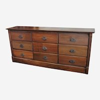 Late 1800's Walnut Pharmacy Apothecary Cabinet with Nine Drawers
