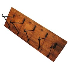 Rustic Old Barn Wood Harness Hanger with Metal Hooks