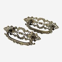 Late 1800's Cast Brass Pulls With Floral Design