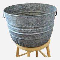 Vintage Galvanized Metal Washtub Planter with Handles