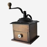 Old Primitive Wood and Cast Iron Coffee Grinder