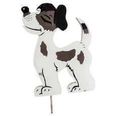 Cute Little Vintage Painted Wooden Dog For Yard
